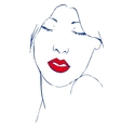 Beautiful young woman with closed eyes and red vector image vector image