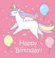 beautyful unicorn on pink background with baloons vector image