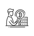 bitcoin mining - line design single isolated icon vector image vector image