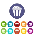 Box of popcorn set icons vector image vector image