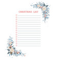 christmas to do checklist with floral corner frame vector image vector image