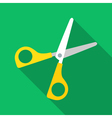 Colorful scissors icon in modern flat style with vector image vector image