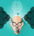 Creative thinking old business man concept vector image vector image