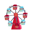ferris wheel with red and blue cabins carousel of vector image