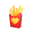 french fries in red carton box vector image vector image