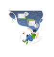 guy hovers in cloud virtual world vector image