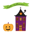 Halloween card with haunted house vector image vector image