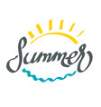 hand drawing word summer with abstract sun and vector image vector image