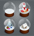 isometric christmas transparent snowglobe isolated vector image vector image