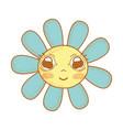 kawaii cute flowers with big eyes and cheeks vector image