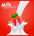 label milk strawberry art banner vector image vector image