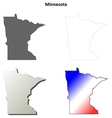 Minnesota outline map set vector image vector image