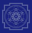 monocrome outline metatron cube yantra vector image vector image