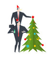 new year corporate party businessman decorates vector image vector image