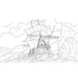 old ship sailing in a storm vector image