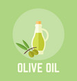 olive oil in glass bottle vector image vector image