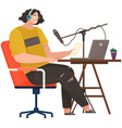 podcaster talking to microphone recording podcast vector image vector image