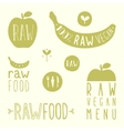 Raw vegan labels vector image vector image