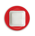 red and white plates vector image vector image