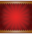 red background with rays and golden ornament vector image vector image