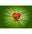 red shining heart on the green background vector image vector image
