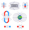 scientific magnetic field different types set vector image vector image
