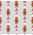 seamless christmas pattern with a cute gingerbread vector image