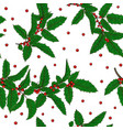 seamless pattern holly ilex branch with berry and vector image
