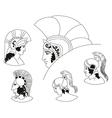 Set of images of ancient Greek warriors head vector image vector image