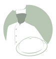 silhouette of chef with a kitchen hat carrying a vector image vector image
