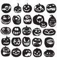 Silhouettes of Halloween pumpkin vector image