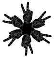Six victory hands abstract symbol black and white vector image