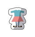 sticker color silhouette with female clothing vector image