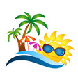 sun in glasses and palm trees vector image