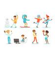teenage boy activities set boy doing sports vector image vector image