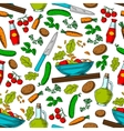 Vegetable salad seamless pattern with ingredients vector image