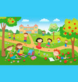children playing on the grass in the park before vector image