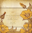 vintage old paper with drawing flowers vector image