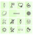 14 orange icons vector image vector image