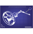3d model of the steering column on a blue vector image vector image