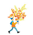 a man carrying a autumn leaves bouquet vector image