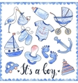 Baby Boy Watercolor Elements Set vector image