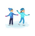 boy with the girl ride on ice in good mood vector image