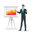 businessman making a presentation near whiteboard vector image vector image