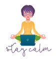 calm woman relaxing meditating with laptop no vector image vector image