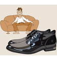cartoon man sitting on the couch looking at shoes vector image vector image