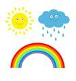 Cartoon sun cloud with rain and rainbow set Isolat vector image