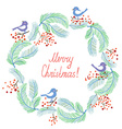 Christmas card with wreath and birds retro design vector image vector image