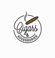 cigars and accessories logo round linear cigar vector image vector image