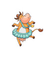cute and funny cartoon farm cow with a bell vector image vector image